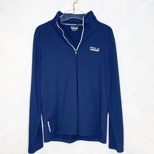 POLO Quarter Zip Performance Shirt Blue Medium